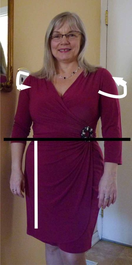 "The curved white arrows around the shoulders indicate where to measure to obtain ""wrap."" The natural waistline is indicated by the straight black line, and ""drop"" is measured from the natural waist to the desired length (white vertical line)."