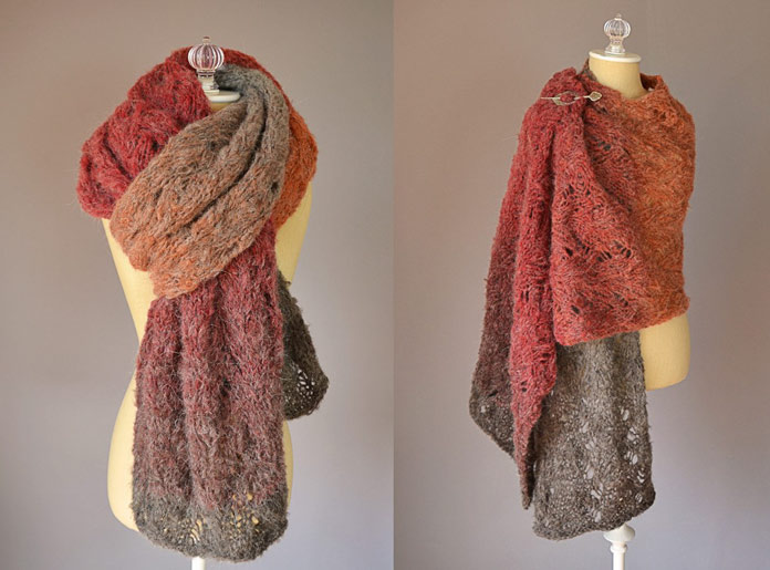 Knit this versatile stole with 1 wheel of Revolutions yarn.