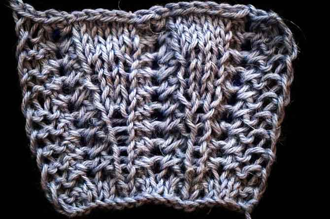 Wisteria pattern with inset stitches added
