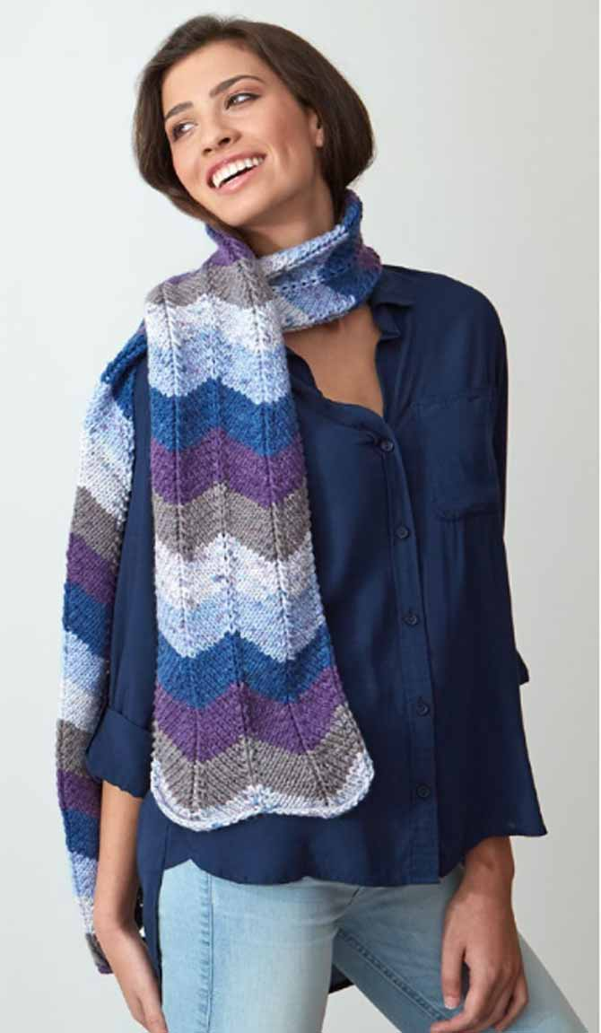 Red Heart's free Chevron Scarf pattern, knitted from With Love Stripes in the color Baroque Stripe. The perfect beginning pattern into color-changing yarns.