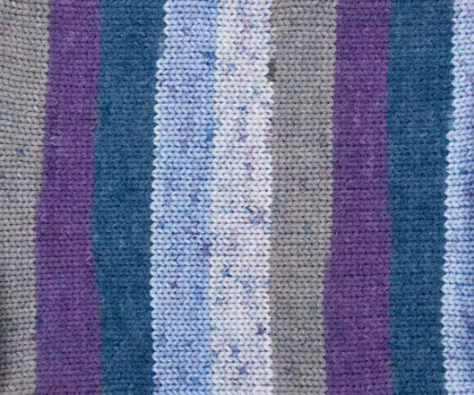 The beautiful blue, purple, cream, and grey swatch of With Love Stripes. Displaying how the yarn will stripe when you knit with it.
