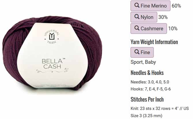 Bella Cash from Universal Yarn is versatile and knits up to a variety of gauges with different needle sizes